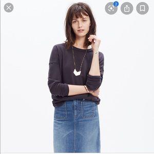 Madewell Faded Black Cotton Crewneck Sweatshirt